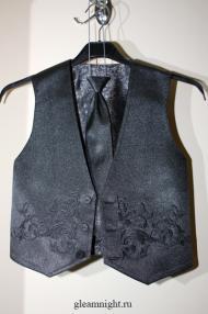 Темно-серый нарядный жилет для мальчика