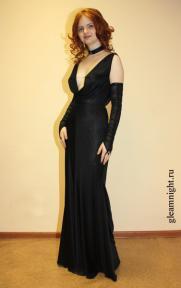 Вечернее платье с каскадом