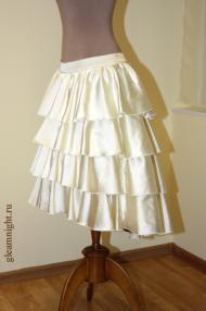 Пышная атласная юбка + съемный шлейф