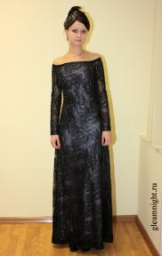 Длинное кружевное платье