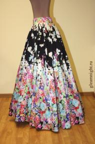 Длинная юбка с цветами