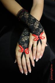 Перчатки ажурные с петелькой